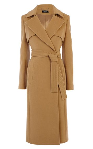 WOOL LONGLINE CAMEL TRENCH COAT