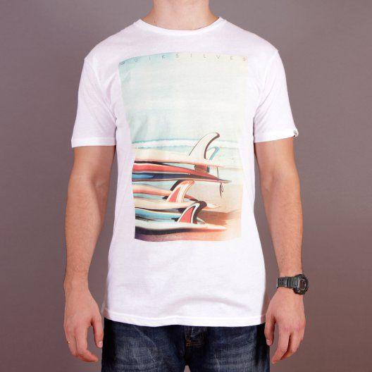Biała męska koszulka z nadrukiem Quiksilver SS QS Tee F7 White - kolekcja Fall/Winter 2014 / www.brandsplanet.pl /