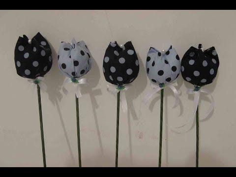 Flor de fuxico com enchimento Passo a Passo - HOW TO MAKE ROLLED RIBBON ROSES- fabric flowers - YouTube