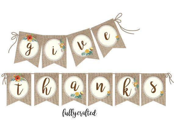 Thanksgiving Banner Give Thanks Banner Rustic Banner