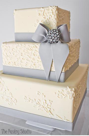 Greyson - Modern Classic Gray Ivory Square Wedding Cake by The Pastry Studio Daytona Beach FL