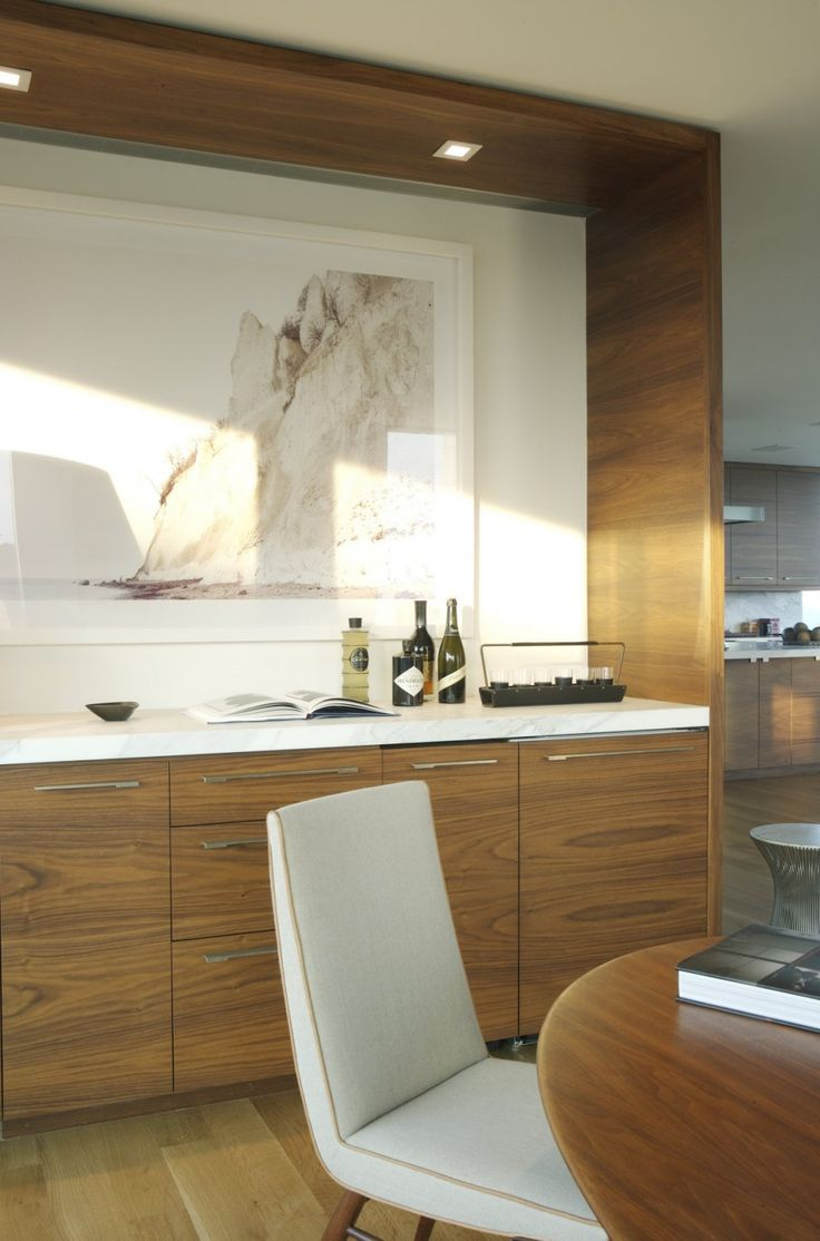Dune Road Residence by Stelle Architects like the built in credenza by dining table