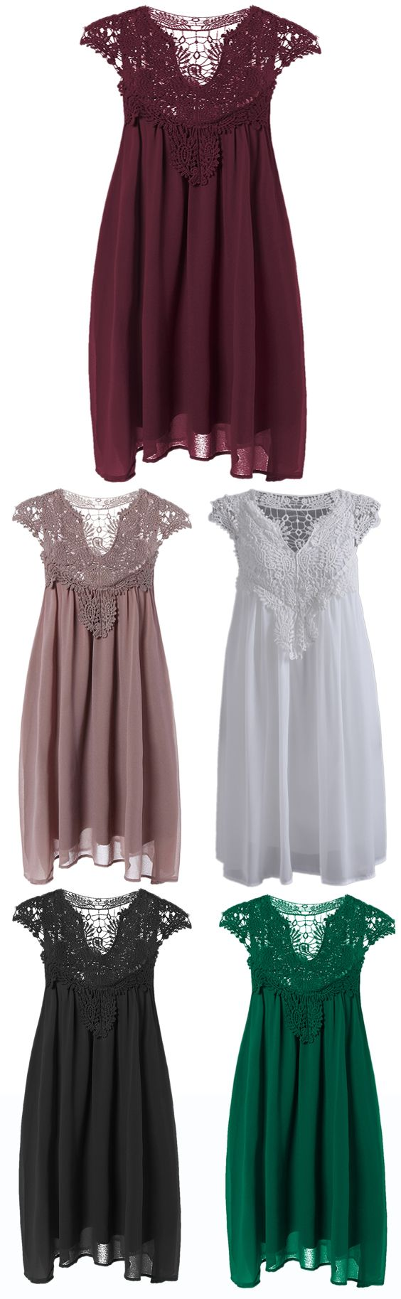 "Plus Size Lace Spliced Hollow Out Dress  -  5 different colors shown here.  Really pretty and would be modest dresses (I think but no modeling on a person).  Might need to be longer.  I can't tell if the front needs the ""magic lace triangle"" cover up if the neckline V is too low."