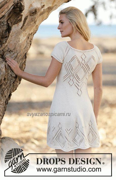 Летнее ажурное платье вязанное спицами