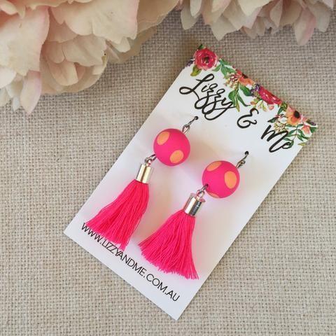 """""""Tullulah"""" - Tassel Earrings - Pink & Peach Spot"""