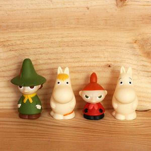 Moomin finger puppets/plastic figurines. http://shop.thelittledromstore.com/product/moomin-plastic-figurines