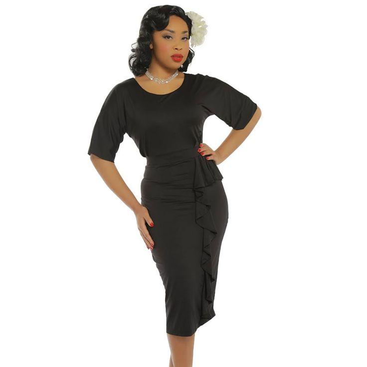 Wiggle Angelina jurk zwart - Vintage, 50