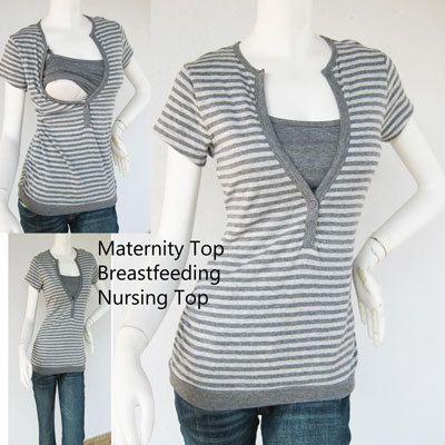LIVIA Maternity Clothes/ Nursing Tops/ Breastfeeding Top/ NEW GREY Stripe/ Nursing Tops for Breastfeeding/ Free Shipping
