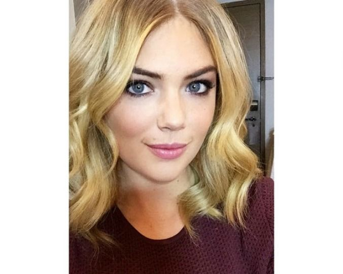 Kate Upton gets a sexy new 'lob' style haircut... All the celebrities are trying this new medium length hairstyle. #kateupton #lob