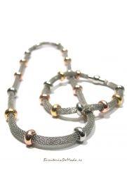 Conjunto de Malla - Pulsera y collar Plateado
