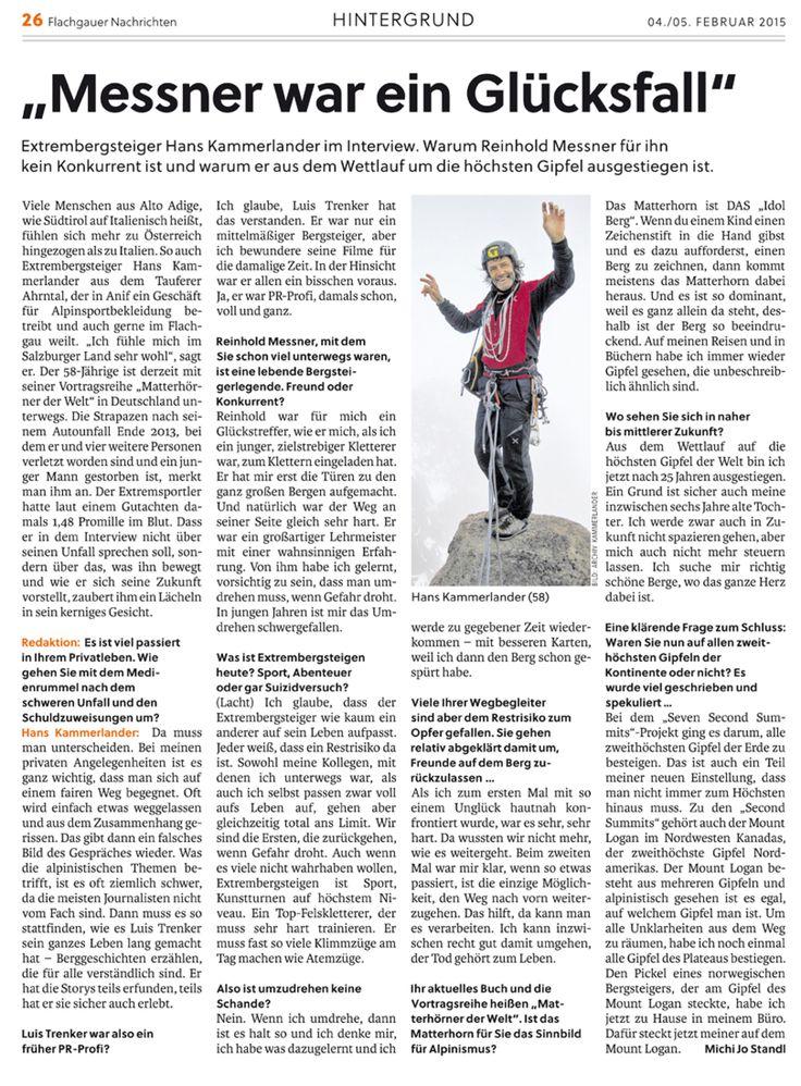 """Exklusivinterview mit Extrembergsteiger Hans Kammerlander, erschienen in den """"Flachgauer Nachrichten"""", Beilage der österreichischen Tageszeitung """"Salzburger Nachrichten""""."""