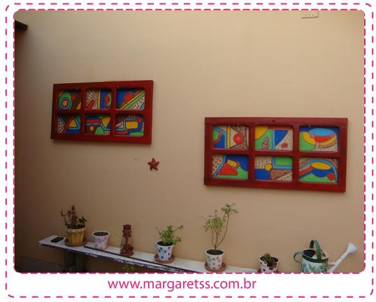 pintura na parede e janela reciclada