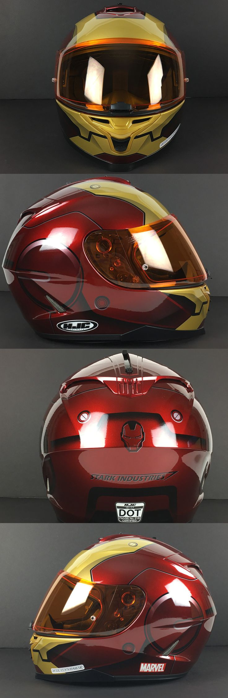 """HJC has partnered with Marvel to create the IS-17 Iron Man Helmet!  An advanced polycarbonate outer shell and multiple density EPS liner make the IS-17 lightweight and able to absorb impact in a crash. This helmet has an integrated """"SunShield"""" that is easy to operate via a switch on the top of the helmet."""