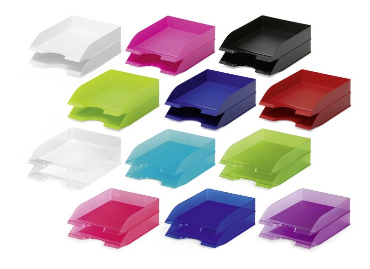 Stackable letter trays A4 and C4 size documents. More colours available from www.durable-uk.com