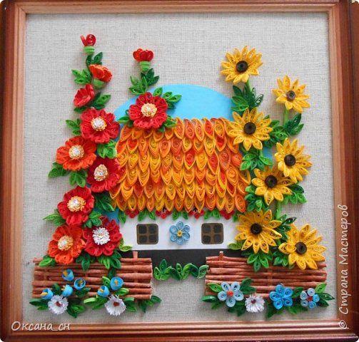 Картина панно рисунок Квиллинг Моя Украина Бумажные полосы фото 2