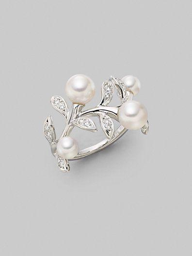 Mikimoto White Round Cultured Pearl, Diamond & 18K White Gold Ring