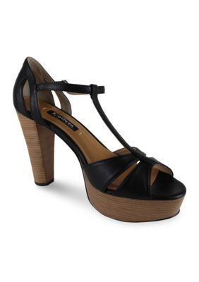 Kay Unger New York Women's Garliste T-Strap Sandal - Black - 8.5M