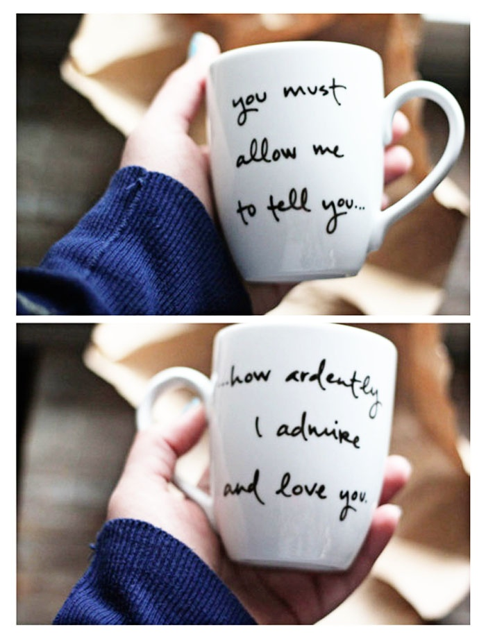 Get a mug from the dollar tree, use a sharpie, bake 30 mins at 350 degrees and you have a quoted or designed mug!
