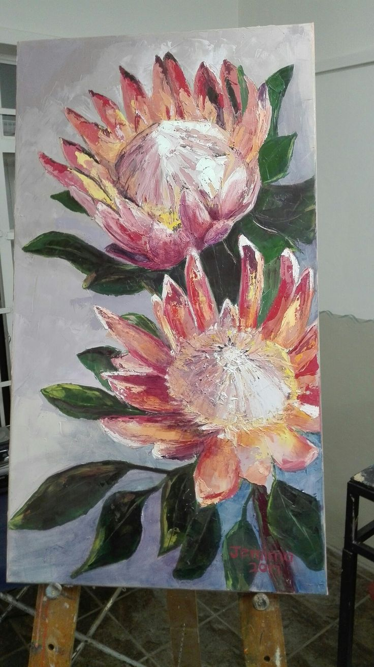 King proteas, Jemima's oil painting.