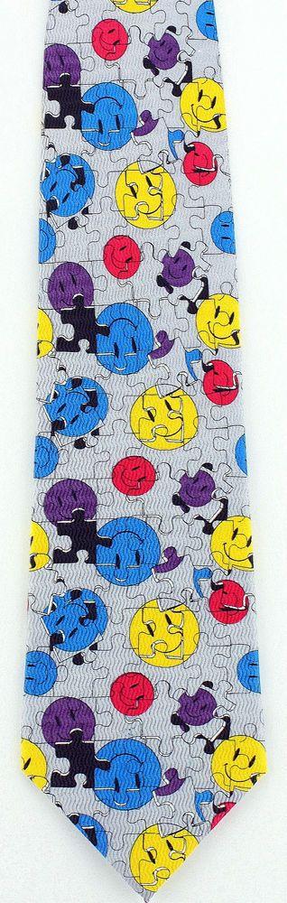 New Smiley's Jigsaw Puzzle Mens Necktie Smiley Face Game Puzzles Silk Neck Tie #JonathanRogers #NeckTie