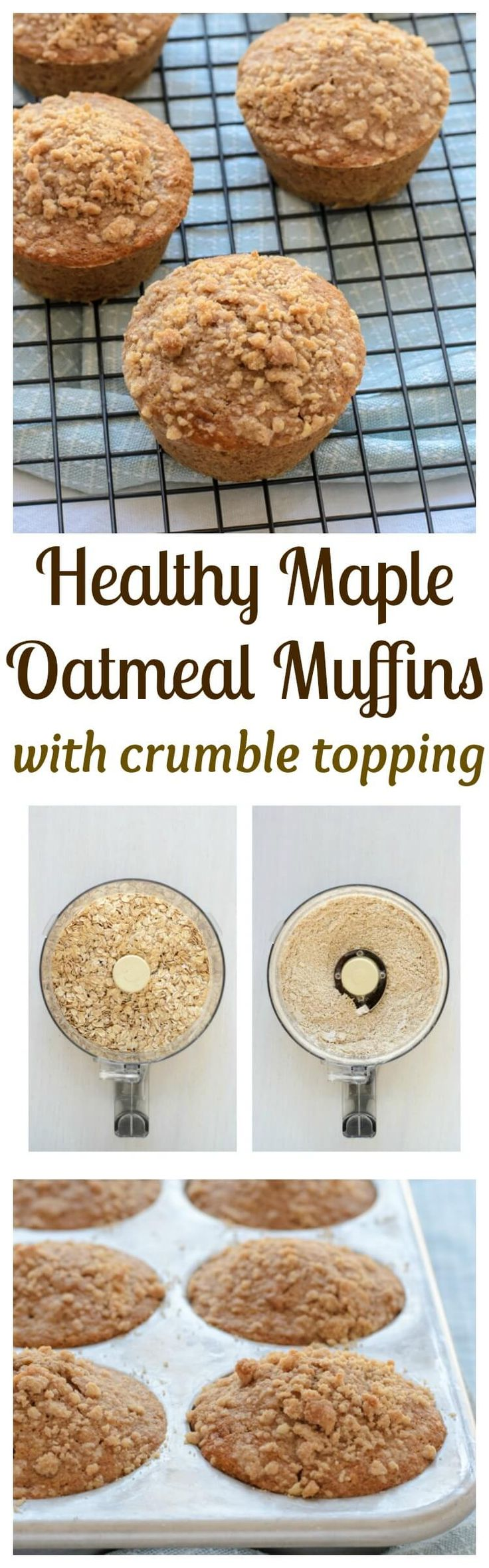 Healthy Maple Oatmeal Muffins with Cinnamon Crumb Topping