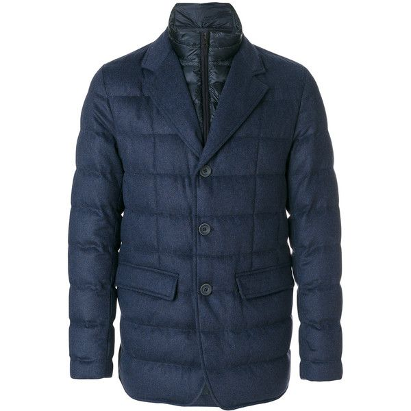 Herno padded jacket (96.755 RUB) ❤ liked on Polyvore featuring men's fashion, men's clothing, men's outerwear, men's jackets, blue, herno men's jackets, mens padded jacket and mens blue jacket