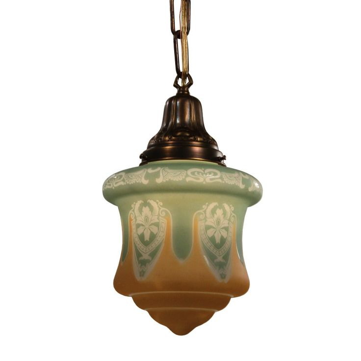 Antique art nouveau pendant light with signed bellova shade from preservationstation on ruby lane