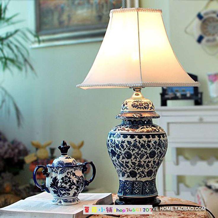 Фарфор Китайский Стиль Синий И Белый Фарфор Настольная Лампа Старинные Керамические Украшения Настольные Лампы для Спальни/Гостиной