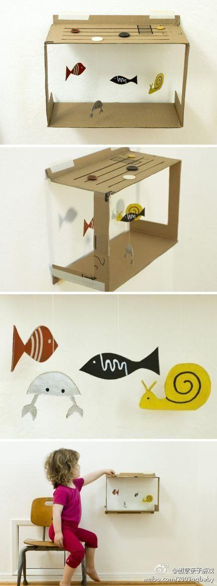 纸箱,卡纸,小纽扣,做属于你们的水族箱,...