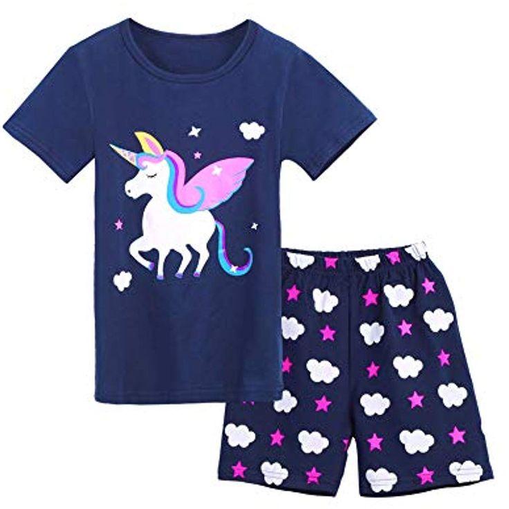 Bricnat Mädchen Schlafanzug Giraffe Drucken Nachtwäsche Baumwolle Kinder Früh…