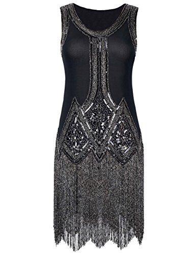 Kayamiya Women's Retro Inspired 1920s Sequined Beaded Art Deco Fringe Flapper Dress