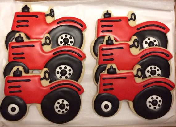 Red Tractor a Cookies One Dozen by CookiesByHannah on Etsy