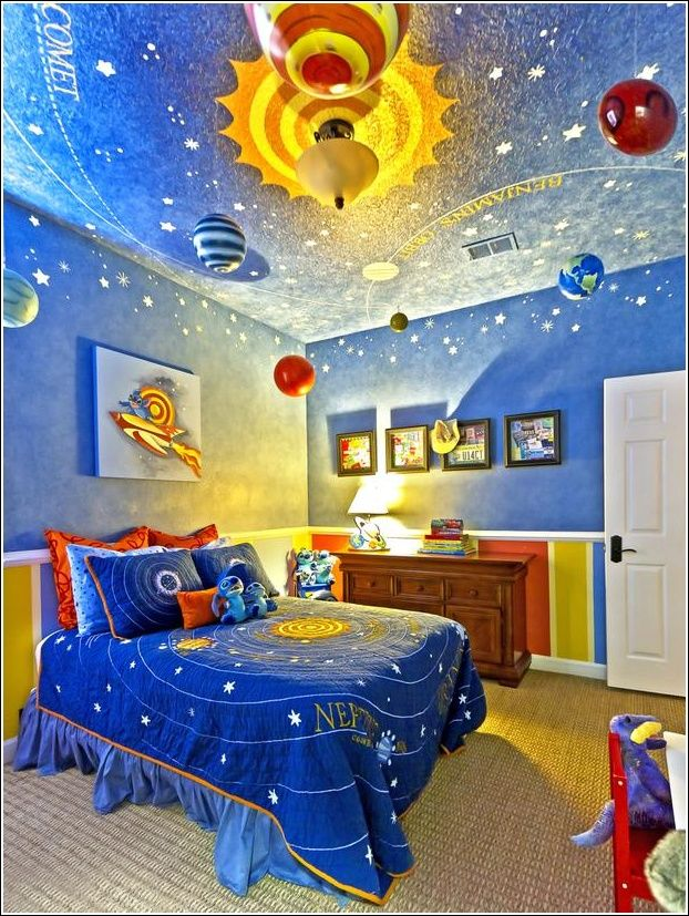 A cool space theme, love that ceiling!