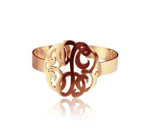 1.6 Inch Monogram Bracelet in Rose Gold Plated
