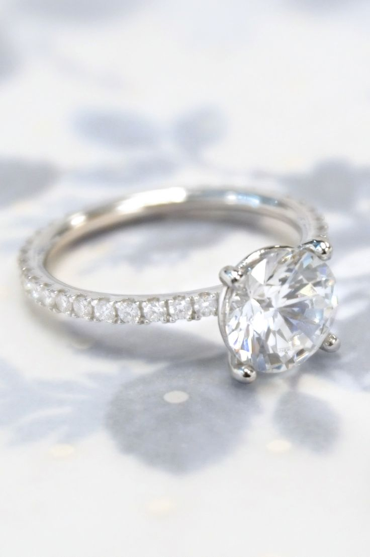 Classic Custom Engagement Ring  Custom Down To The Prongs Holding Every  Accent Diamond Design