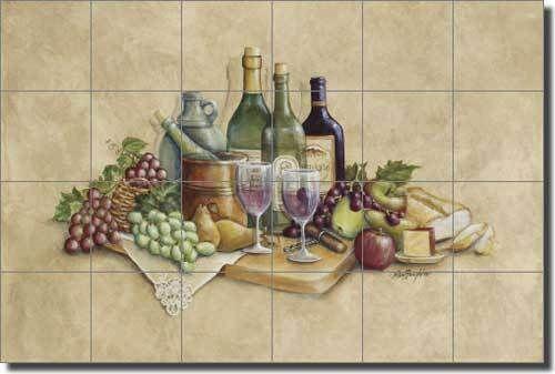 Broughton Wine Grapes Kitchen Ceramic Tile Mural