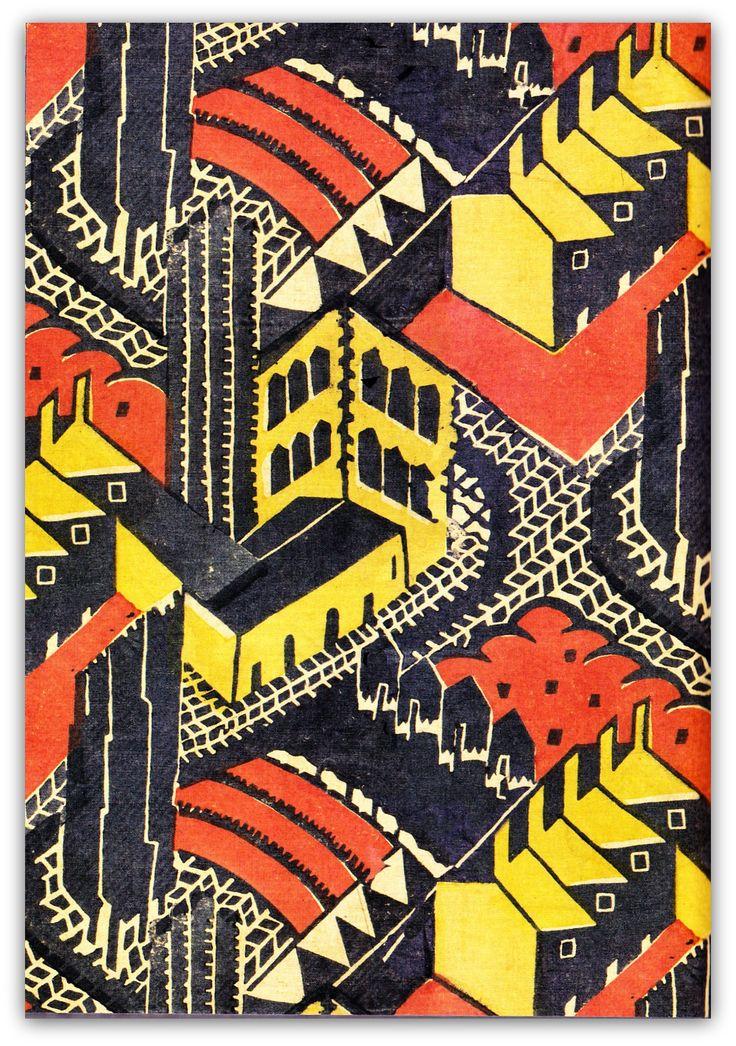 artfromthefuture:  1930 block-printed linen furnishing fabric, 'Welwyn Garden City', designed by Doris Gregg