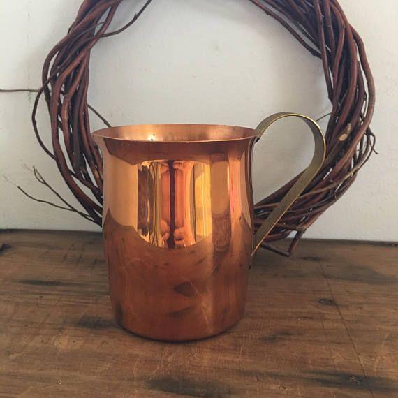 Copper Creamer Copper and Brass Small Pitcher Rustic Home