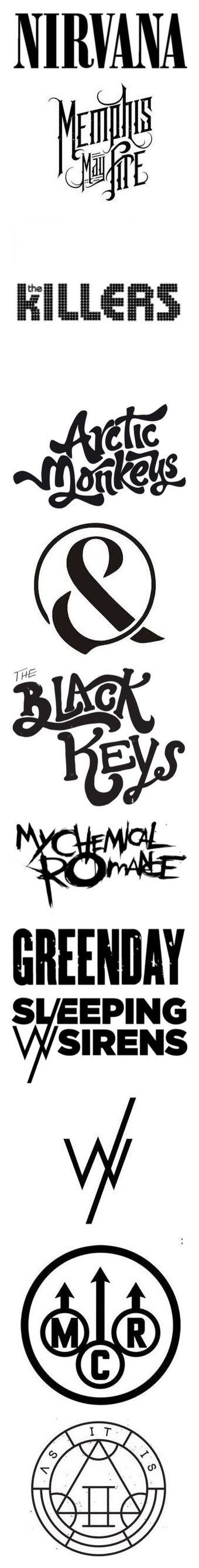 """""""band logos"""" by s8tan on Polyvore featuring fillers, quotes, text, bands, nirvana, phrase, doodle, saying, scribble and words"""