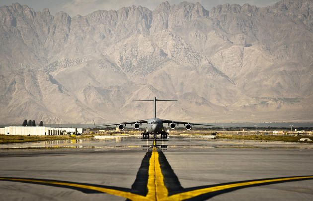 A U.S. Air Force C-17 Globemaster III cargo aircraft taxis to its parking spot at Bagram Airfield, Afghanistan, Sept. 25, 2012. The Globemaster III is a regular visitor to Bagram Airfield, transporting troops, equipment and supplies in and out of Afghanistan. (U.S. Air Force photo by Capt. Raymond Geoffroy)