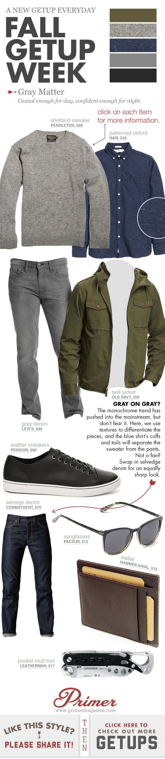 Blue flecked oxford button shirt, grey jeans, grey crew-neck sweater, olive green jacket, and black sneakers.