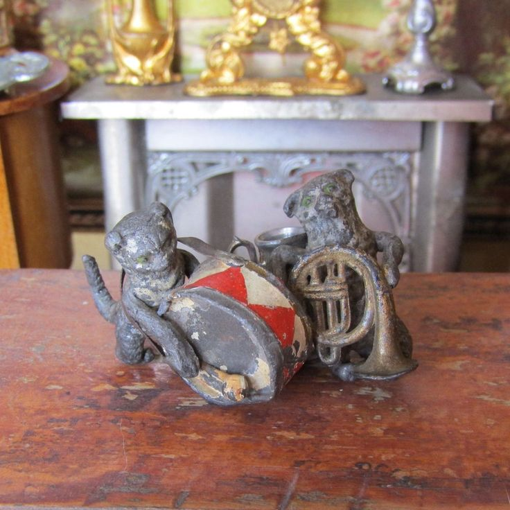 Antique Miniature Lead Animal VICTORIAN CAT DRUM BAND MUSIC 1800s Instrument Toy   Dolls & Bears, Dollhouse Miniatures, Furniture & Room Items   eBay!