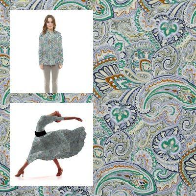 Tela popelín de algodón estampado con dibujos cachemir en colores predominantes verde manzana, azul y ocre. Popelín flamenca cachemir, sostenido y de tacto muy suave, ideal para la confección de trajes de flamenca, vestidos, camisas y faldas. http://www.aleko.kingeshop.com/Popelin-Cachemir-dbaaaakta.asp