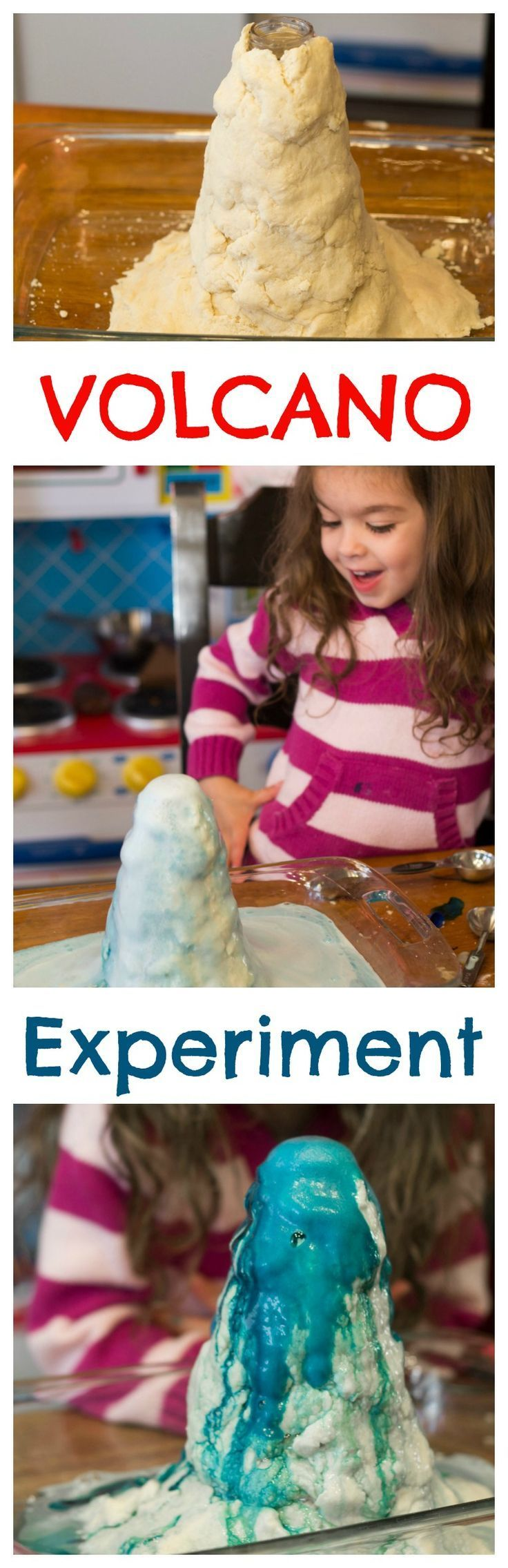 Easy science experiment for kids! Volcano Science Project that uses stuff you already have in your kitchen! Would make a great science fair experiment idea.