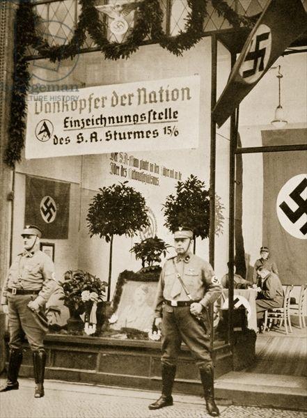 World War I veterans register for the SA, from 'Geschichte der SA' by Wilhelm Rehm, pub. by Franz Eher Nachf, 1938 (sepia photo)
