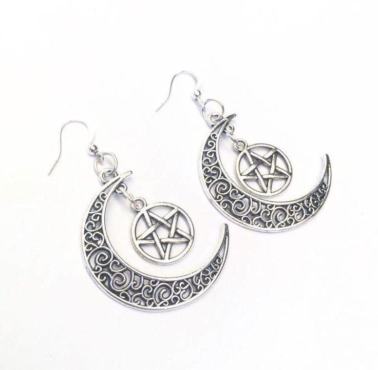 Silver Pentagram Crescent Moon Earrings