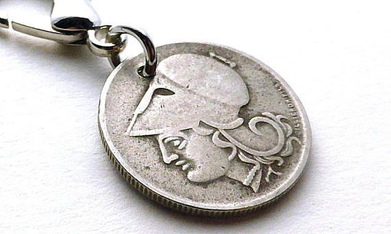 Greek charm Zipper charm Vintage charm Coin charm Handbag