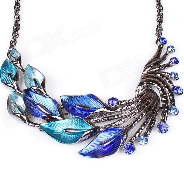 Women's Fashionable Peafowl Style Crystal Inlaid Necklace + Earrings Jewel Set - Blue + Silver - Free Shipping - DealExtreme