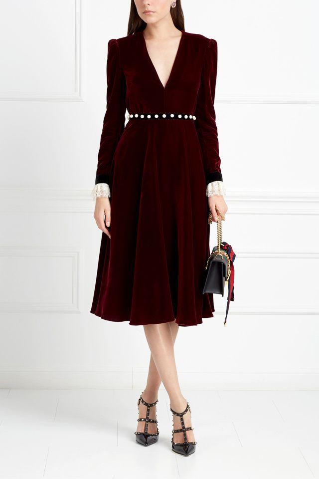 Бархатное платье Philosophy Di Lorenzo Serafini - Элегантное бордовое платье из бархатной ткани в интернет-магазине модной дизайнерской и брендовой одежды