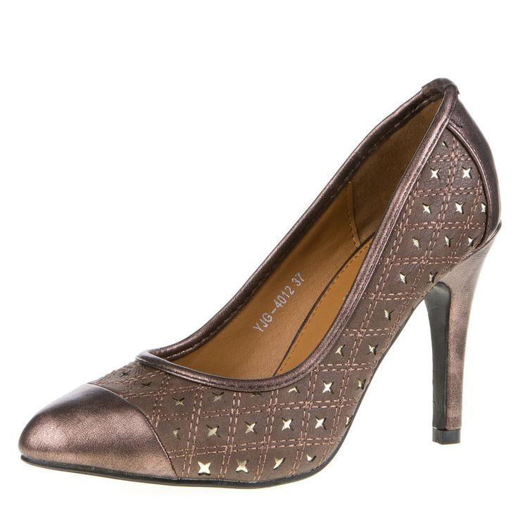 Metallic faux leather heels  PUMPS 86mr USED LOOK STERN DEKO HIGH HEELS Bronze Braun